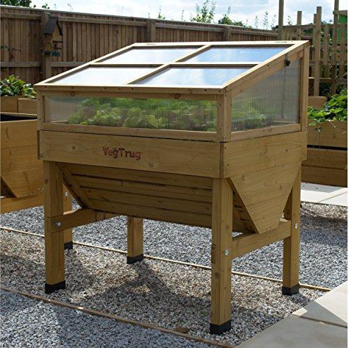 Praktisches Hochbeet Small Frühbeetaufsatz von VEGTRUG, aus hochwertigem FSC-Zedernholz, ca. 105 x 76 x 45,5 cm, Gemüsebeet Pflanzenschutz, Erweiterung, Pflegeleicht, stabil,
