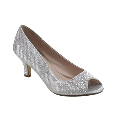 Bonnibel Wonda-2 Womens Peep Toe Low Heel Glitter Slip On Dress ...