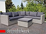 dasmöbelwerk Poly Rattan Sitzgarnitur Gartenmöbel Sitzgruppe Lounge Ecklounge Essgruppe Gartenset PARMA Grau