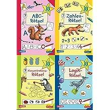 Pixi kreativ 4er-Set 22: Lernspiele für den Schulanfang (4x1 Exemplar): ABC-Rätsel - Zahlen-Rätsel - Konzentrations-Rätsel - Logik-Rätsel