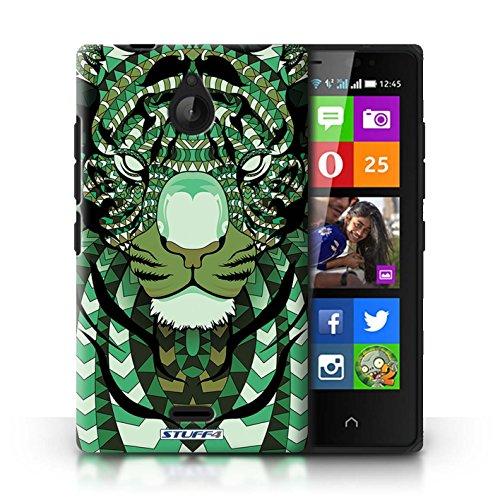 Kobalt® Imprimé Etui / Coque pour Nokia X2 Dual Sim / Loup-Mono conception / Série Motif Animaux Aztec Tigre-Vert