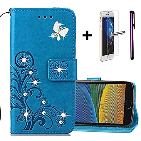 Moto G5 Wallet Flip Cover [With Free Screen Protector + 1 Stylus Pen] - Bling Sparkly Diamonds PU Leather Case - Floral Flower Lucky Clover Embossed Embossing - Card Slot - Hand Strap - Magnetic Closure - Premium Leather Case Inner Soft Rubber Cover for Motorola Lenovo Moto G5 5.0 inch. Glitter Clover