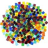 480 Pezzi, 300 g Luminoso Trasparente Colore Misto Tessere di Mosaico Vetro a Mosaico Pezzi Decorazioni per La Casa per Artigianato Fai Da Te, Quadrato, 1 da 1 cm