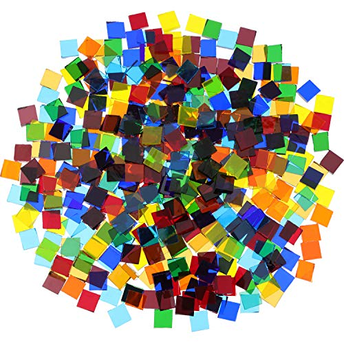 480 Pieces, 300 g Transparent Bright Mixed Color Mosaic Tiles Mosaic Glass Pieces Home Decoration for DIY Crafts, Square, 1 by 1 cm