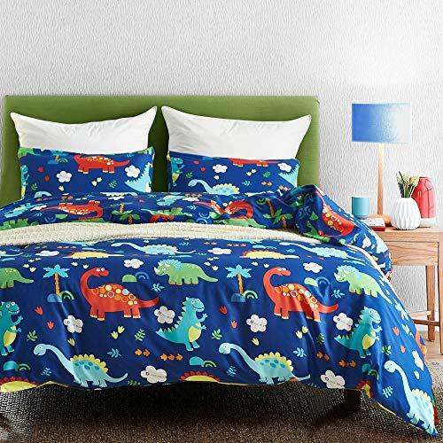 ZHKing Ultraweiche Bettbezug-Set, 3-teilig-Cartoon Dinosaurier Druckmuster Kinder Jungen & Mädchen Tröster Bettwäsche-Set,DinosaurWorldA,Twin/Double (Jungen Bettwäsche-sets Twin)