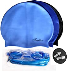Swimming Combo by UNITAIL | Swimming Kit | Silicone Cap + Goggles + Ear Plugs Pair for Men, Women, Girls, Boys, Kids