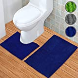 WohnDirect Badematten Set 2tlg – Badematte 45 x 45 cm und Badteppich 50 x 80 cm – Duschvorleger Rutschfest & Waschbar mit WC-Ausschnitt