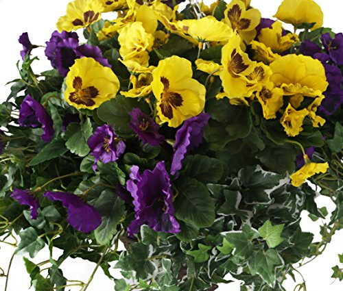 Closer2Nature-Artificial-Yellow-and-Purple-Pansy-Display-in-a-12-Cone-Willow-Hanging-Basket-Artificial-Bedding-Plug-Plant-and-Display-Range