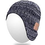 Qshell adulti Unisex Trendy caldo molle dell'orecchio Beanie Bluetooth Copre senza fili Cuffia altoparlante Mic a mani libere, regalo di Natale per le donne del Mens esterno di inverno Sport Sci Snowboard - Nero / Grigio