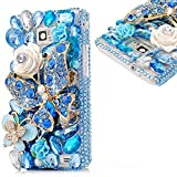 Evtech (tm) Blau Goldene Diamante Schmetterling Blumendekoration Weiße Blumen Blau-Blüten-Diamantrhinestone Bling Bling Kristall Glitter Fashion Style Transparency Back Cover Handy-Fall für Samsung Galaxy S6 Edge Plus Samsung Galaxy S6 Edge + (100% Handarbeit)
