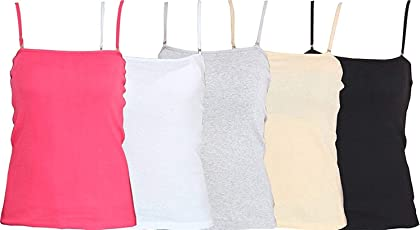 RAPID Strap Adjustable Women's Cotton Camisole Pack of 4 (Color May Vary)