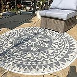 In- und Outdoor Teppich rund Ø 150 cm Muster Teppiche Terrasse Balkon wetterfest
