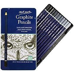 MONT MARTE Lapices de Grafito - 12 piezas - Ideal para Escribir, Dibujar y Esbozar - Lápices de mina grises - Perfecto para Principiantes, Profesionales y Artistas - Set de Dibujo Profesional