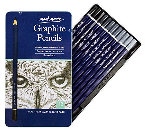 MONT MARTE Künstler Graphitstifte Set - 12 Stück - Zeichenstifte, Bleistifte, Zeichenbedarf, Künstlerstifte - Ideal für Skizzen und detaillierte Zeichnungen
