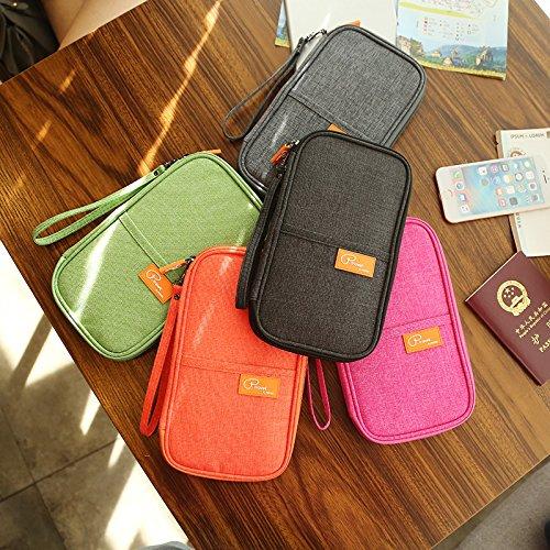 Reisepasshüllen Mappe Reise-Dokumente Tasche Reisepass Kreditkarten-Halter Damen und Herren mit Reißverschluss Geldbörse Etui Ticket Schwarz