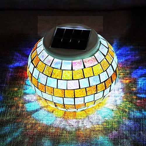 SOLMORE Solarleuchte Mosaik Glas Lampe Solarbetriebene Leuchten Farbwechsel Tischlampe Solarlampe Glaskugel Nachtlicht für Haus Patio Gartentische Innen- / Außendekorationen Geschenk