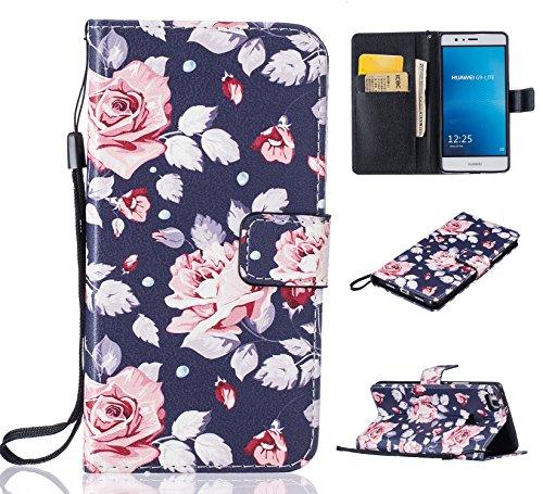 Preisvergleich Produktbild für Huawei P9 lite PU Wallet Case Schutz Hülle für Huawei P9 lite - Cover Flip Tasche mit Kartenfach in Buch Stil mit Kartenfach Standfunktion Magnetverschluss und Hand Wrist + Staubstecker (O3)