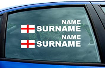 England Flag Rally Race Tag Name Surname Text Window Stickers - Car window stickers amazon uk