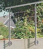 Geländer Starter-Set aus Aluminium. Für seitliche Montage. 1,20 m. Als Treppengeländer, Brüstungsgeländer, Balkongeländer oder Terrassengeländer einsetzbar. Geeignet für den Innen- und Außenbereich.
