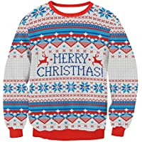 S.CHARMA Unisex Damas suéter de Punto Jersey de Navidad Blusa Tops Damas suéter Manga Larga Sudadera