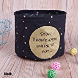 CALISTOUK Colorful Patterns Linen Desk Storage Box Holder Jewelry Cosmetic Stationery Organizer Case,Black