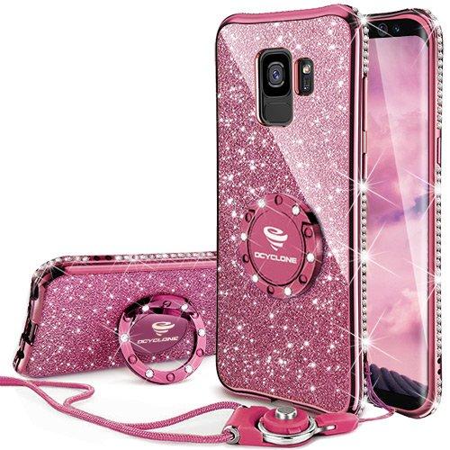 OCYCLONE Samsung Galaxy S9 Hülle Glitzer, Handyhülle Galaxy S9 Mädchen Frauen, mit 360 Grad Ständer Ring Diamant Bling Schutzhülle Samsung Galaxy S9 Hülle Glitzer, Dunkel Lila