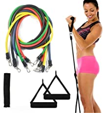 GOCART Exercise Bands Resistance Set of 9 Pieces with Door Anchor, Handle, Carry Bag, Fitness Bands (Multicolour)