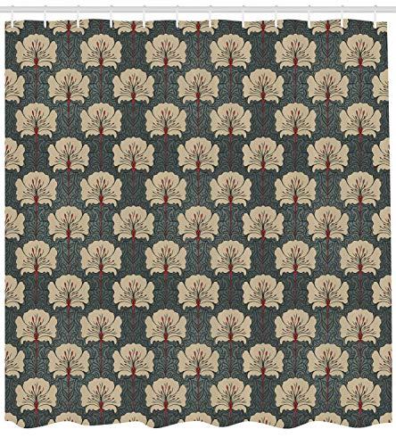 ABAKUHAUS Blumen Duschvorhang, Jugendstil-Mohnblumen, mit 12 Ringe Set Wasserdicht Stielvoll Modern Farbfest und Schimmel Resistent, 175x200 cm, Zinnoberrot Grau Tan