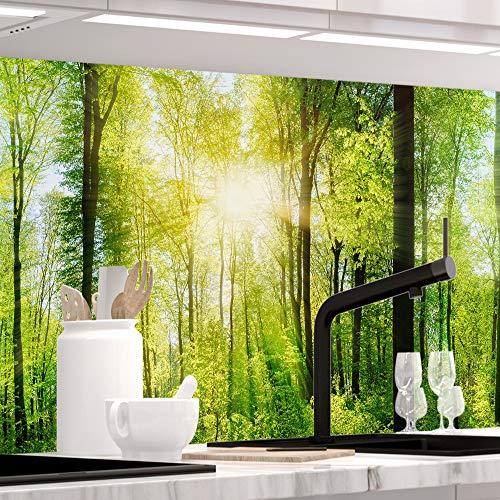 StickerProfis Küchenrückwand selbstklebend - Wald - 1.5mm, Versteift, alle Untergründe, Hart PET Material, Premium 60 x 400cm