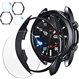[2+2 Pack] Samsung Galaxy Watch 3 41mm 45mm Screen Protector and Case, 2 Packs Tempered Glass Protective Film and 2 Packs Sof