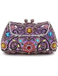 Damen Clutch Abendtasche Handtasche Geldbörse Glitzertasche Strass Kristall Vogel Tasche mit wechselbare Trageketten von Santimon Orange Santimon