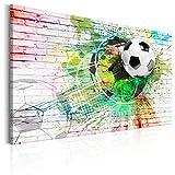 murando - Bilder Fussball 120x80 cm - Leinwandbild - 1 Teilig - Kunstdruck - modern - Wandbilder XXL - Wanddekoration - Design - Wand Bild - Ziegel Graffiti Fußball Kinder bunt weiß i-B-0044-b-a