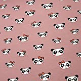 0,5m Jersey Panda Kopf mit Schleife rosa 5% Elasthan 95%