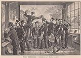 Fotograph - Reservisten beim Photographen. Die Soldaten stehen vor einer Leinwand, andere zwirbeln sich den Bart und bürsten sich die Haare. Ein anderer hat seinen Fuß auf ein Fässchen gestellt, darauf steht