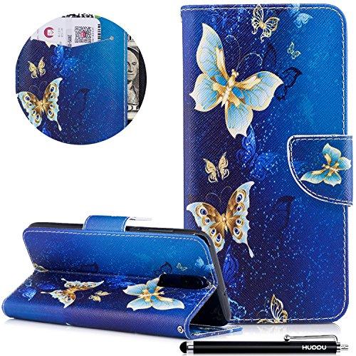 HUDDU Bunt Schutzhülle für Huawei Mate 10 Lite Hülle Blumen Butterfly Muster Slim Handyhülle Leder Tasche Wallet Case Cover Flip Kartenfach Magnetverschluss Stand Brieftasche Klapphülle Blau