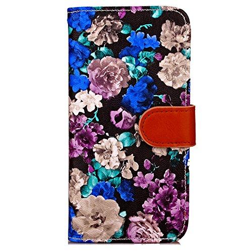 Voguecase Pour Apple iPhone 6/6s 4,7 Coque, Étui en cuir synthétique chic avec fonction support pratique pour Apple iPhone 6/6s 4,7 (Encre Fleur-Bleu,Blanc)de Gratuit stylet l'écran aléatoire universe Encre Fleur-Bleu,Proupre