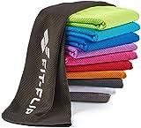 Fit-Flip Kühlendes Handtuch 100x30cm, Mikrofaser Sporthandtuch kühlend, Kühltuch, Cooling Towel, Mikrofaser Handtuch| Farbe: Schwarz, Größe: 100x30cm