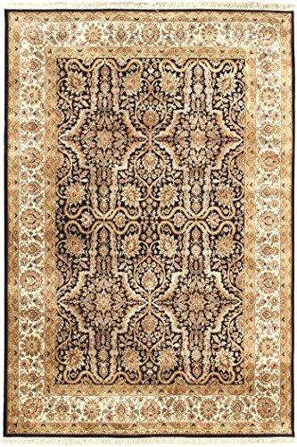 Arts of India Handgefertigt indisch Blumen Design Schwarz Wolle Handgeknüpft Jaipur 9X12 Bereich Teppich -