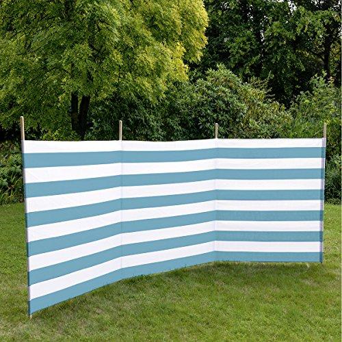 8 m x 0,80 m blau//wei/ß gestreift 7576566 Idena Baumwoll Windschutz incl 7 Holzst/äbe