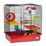 CTC-Trade | Hamsterkäfige Rot Außenmaße 49x32,5x52,5 Mäusekäfig Nager Hamster Plastik Kleintier Käfig mit Zubehör