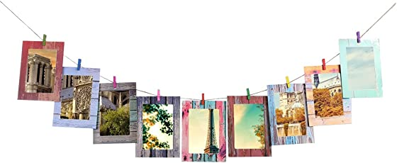 Tomtopp 7inch DIY Photo Wall Creative Wood Frame Paper Hanging Album Combination