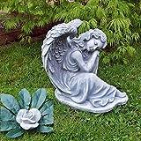 Steinfigur Engel Angel Gartenfigur Grabengel Skulptur Grabschmuck Frostfrei massiver Steinguss W