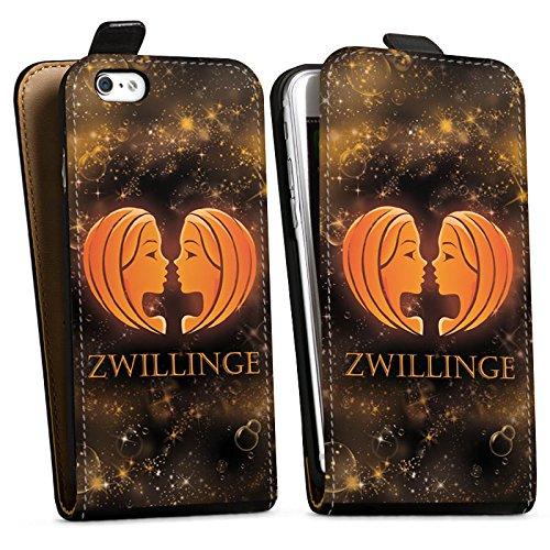 Apple iPhone X Silikon Hülle Case Schutzhülle Sternzeichen Zwillinge Esoterik Downflip Tasche schwarz