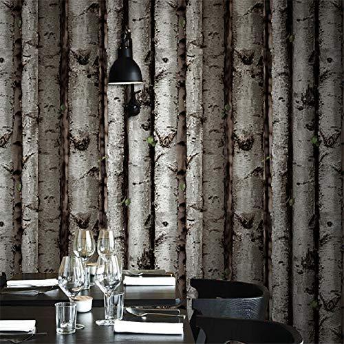 XFDJYA Tapete Baum-Stapel-Weinlese-natürliches rustikales gekörntes Effekt-hölzernes Tapeten-Wand-Papier der Baum-Platten-Planken-3D, Farbe 5,5.3㎡