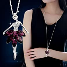 Fashion Jewelry Violet Crystal Ballet Dance Girl Pendant Necklace Ballerina Chain (Purple)