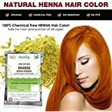 Orange Henna Hair Color – 100% Organic and Chemical Free Henna for Hair Color Hair Care - (120 Gram = 2 Packets)