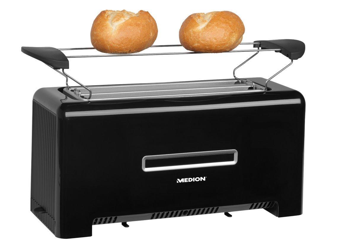 MEDION-Toaster-MD-15709-1200-bis-1400-Watt-Zwei-Langschlitze-Aufwrm-Auftau-und-Stopptaste-Brunungsgrad-Regler-schwarz
