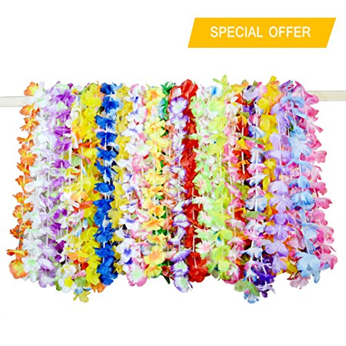 decorations tropical hawaii favors lei silk amazon flower hawaiian com leis dp theme necklace counts luau wreaths party headbands