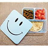 Kieana Smiley Lunch Box Set For Kids, Return Gift In Bulk For Birthday Party In Low Price , 3 Compartment Reusable School Plastic Lunch Box With Spoon & Fork (Pack Of 12) Return Gift Birthday Gifts Online (For More Gifts Search For Kieana )