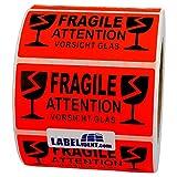 Aufkleber - Fragile - Attention - Vorsicht Glas - 100 x 50 mm - 100 Stück auf Rolle, leuchtrot, permanent haftend - Versandetikett, Warnetikett, Paketaufkleber